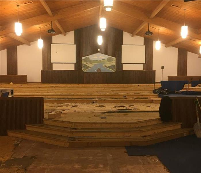 Carpet Removal after Fire Damage to Church
